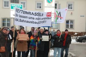 Demonstration in Mühldorf: Zweigleisiger Bahnausbau SOFORT