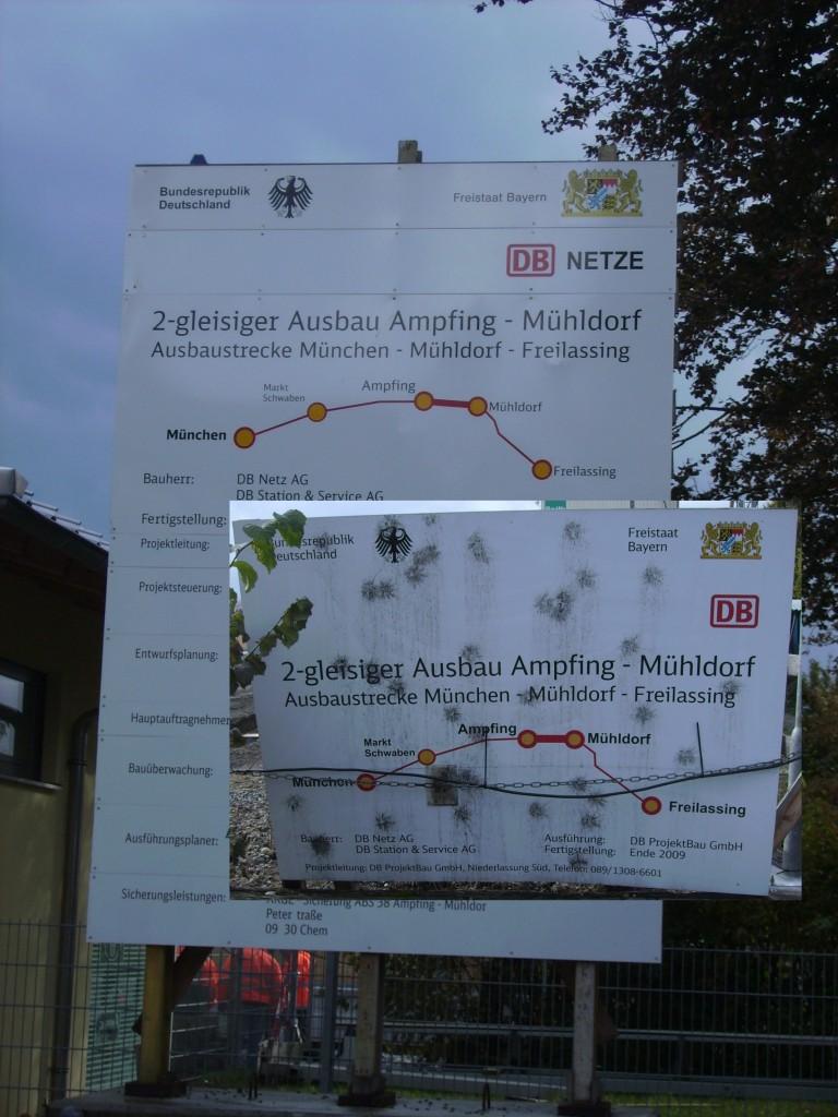 Bautafel in Ampfing- Bahnausbau Mühldorf