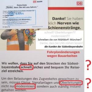 2012: Entschädigung mit Frühstücksgutscheinen der Südostbayernbahn für die Pannen beim Schienenersatzverkehr Hörlkofen- Markt Schwaben