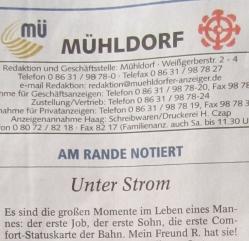 Samstags Kommentar zum fehlenden Strom und alten Dieselloks im Mühldorfer Anzeiger