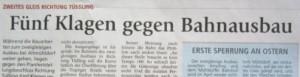Fünf Anwohner klagen gegen das Vorgehen der Bahn beim Ausbau Mühldorf- Tüßling. Für 100.000 € Mehrkosten- gäbe es eine Einigung. Das lehnt das Eisenbahnbundesamt ab.