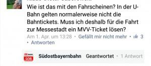"""Ehrliche Kunden fragten die Mühldorfer Südostbayernbahn: Sind die DB Tickets in der U- Bahn zur Messe in Riem gültig? Diese Frage stellt sich DB Kunden bei allen S- Bahn- Stammstrecken Sperrungen? Ist im Notfall die DB- Fahrkarte bei der MVG gültig? Hier bei Problemen auf """"hinterher"""" zu verweisen ist von der Bahn feige bis falsch! MVG Kontrolleure die ein 40 Euro Strafticket ausstellen werden vor Gericht Recht bekommen: Diese Frage ist zwischen der Bahn und der MVG nicht geklärt. Im Zweifel trägt der Fahrgast die Schuld, er hätte stempeln müssen…"""